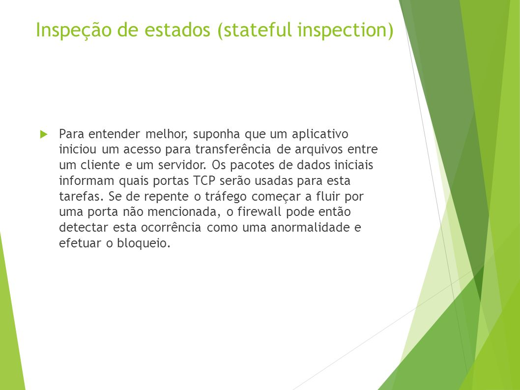 Inspeção de estados (stateful inspection)