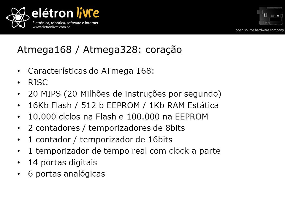 Atmega168 / Atmega328: coração