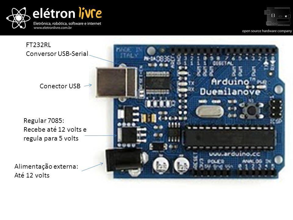 FT232RLConversor USB-Serial. Conector USB. Regular 7085: Recebe até 12 volts e. regula para 5 volts.