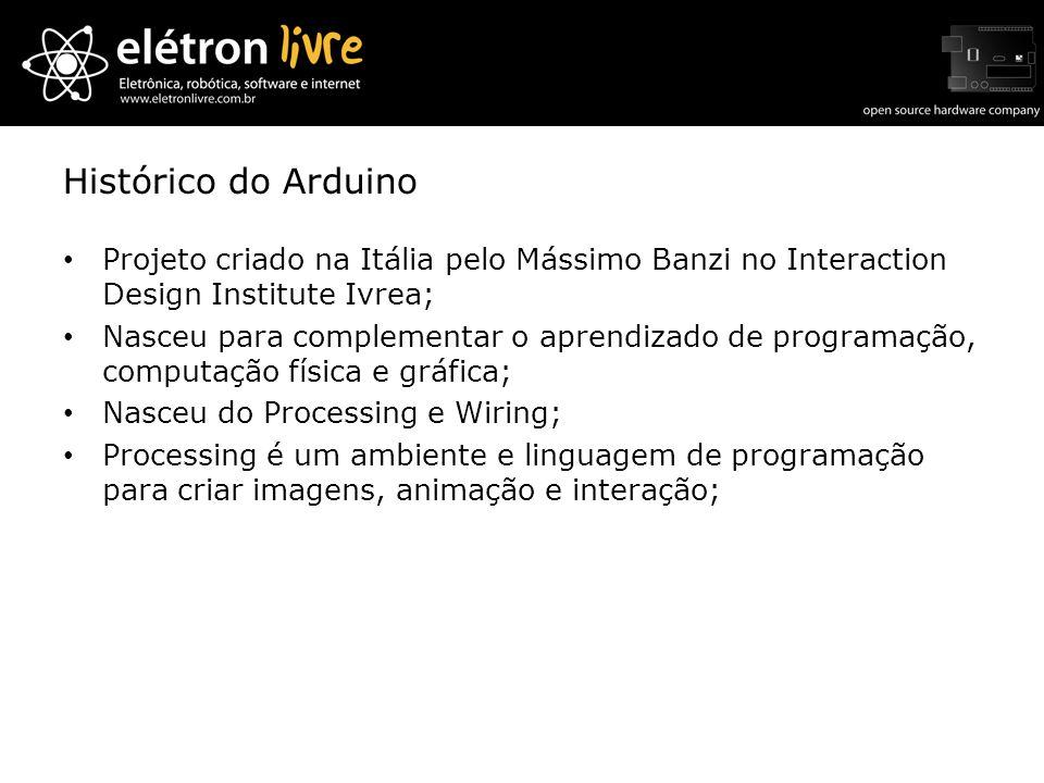 Histórico do Arduino Projeto criado na Itália pelo Mássimo Banzi no Interaction Design Institute Ivrea;