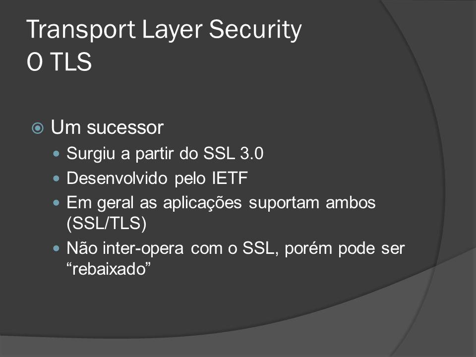 Transport Layer Security O TLS