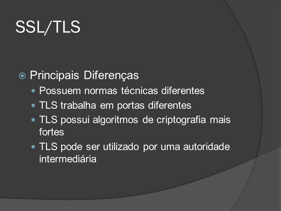 SSL/TLS Principais Diferenças Possuem normas técnicas diferentes