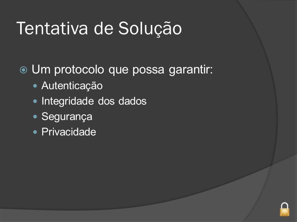 Tentativa de Solução Um protocolo que possa garantir: Autenticação