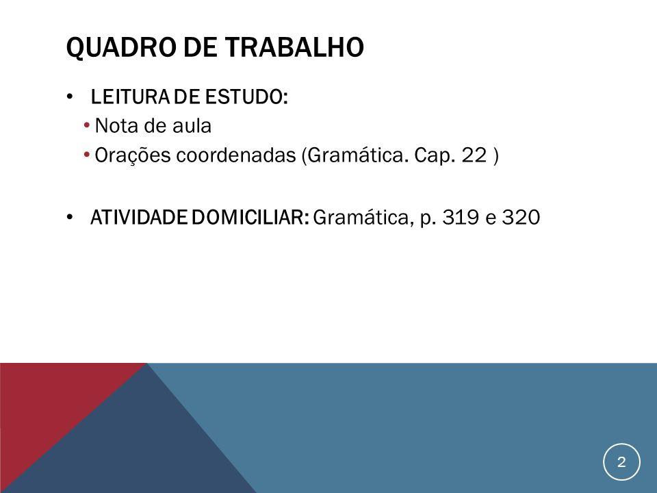 QUADRO DE TRABALHO LEITURA DE ESTUDO: Nota de aula