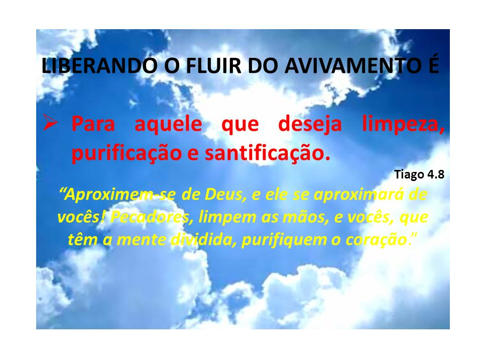 LIBERANDO O FLUIR DO AVIVAMENTO É