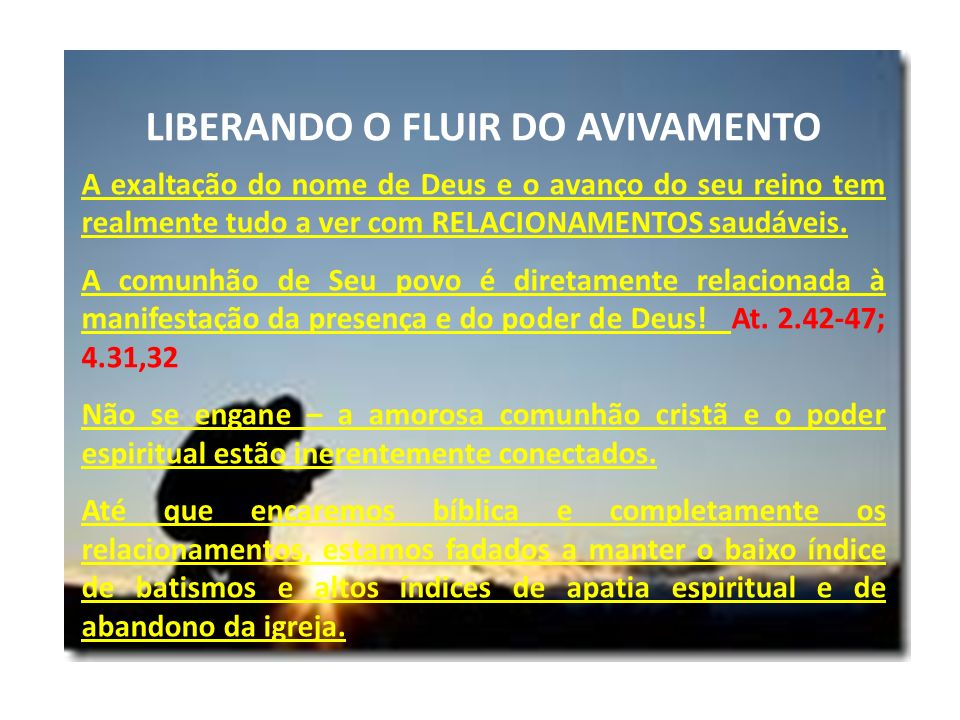 LIBERANDO O FLUIR DO AVIVAMENTO