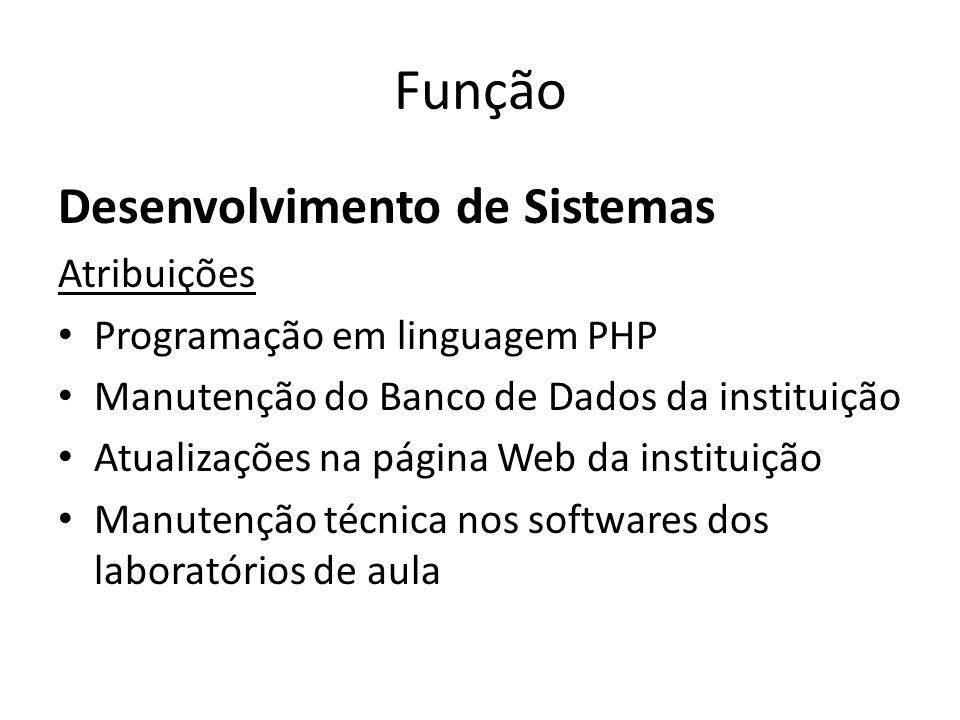 Função Desenvolvimento de Sistemas Atribuições