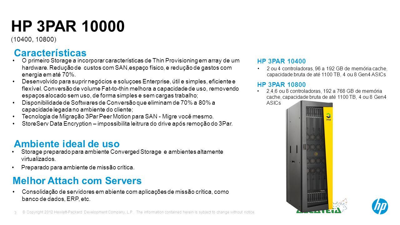 HP 3PAR 10000 (10400, 10800) Características Ambiente ideal de uso