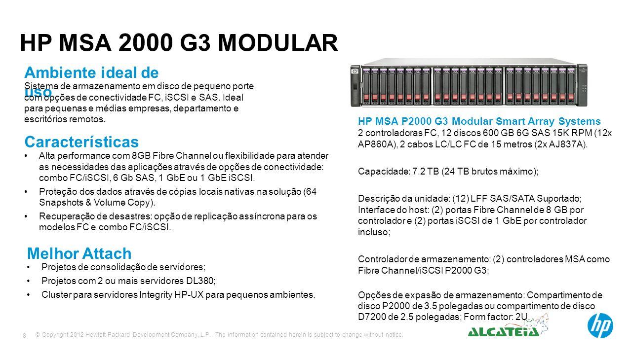 HP MSA 2000 G3 MODULAR Ambiente ideal de uso Características