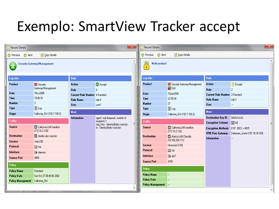 Exemplo: SmartView Tracker accept