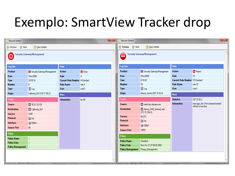 Exemplo: SmartView Tracker drop