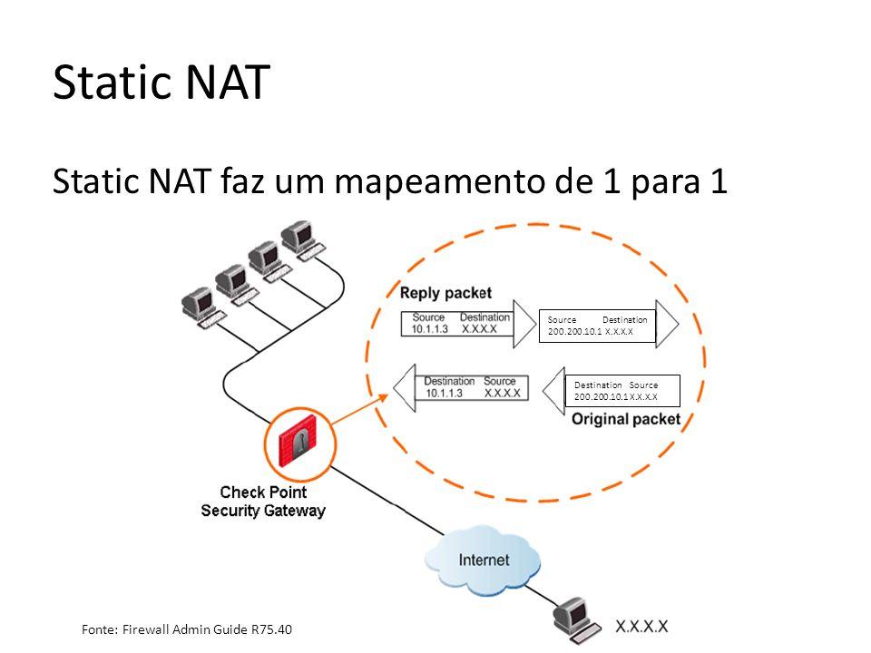 Static NAT Static NAT faz um mapeamento de 1 para 1