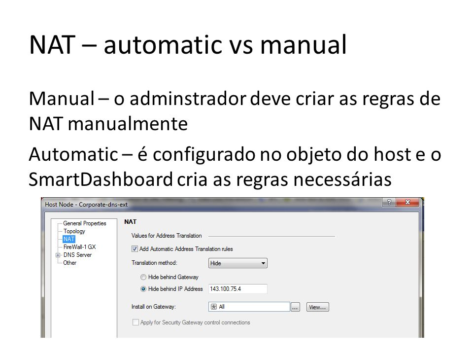 NAT – automatic vs manual