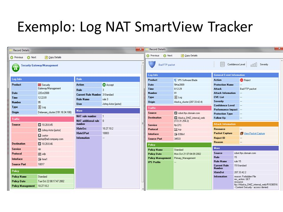 Exemplo: Log NAT SmartView Tracker