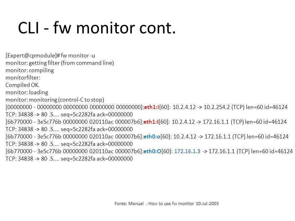 CLI - fw monitor cont.