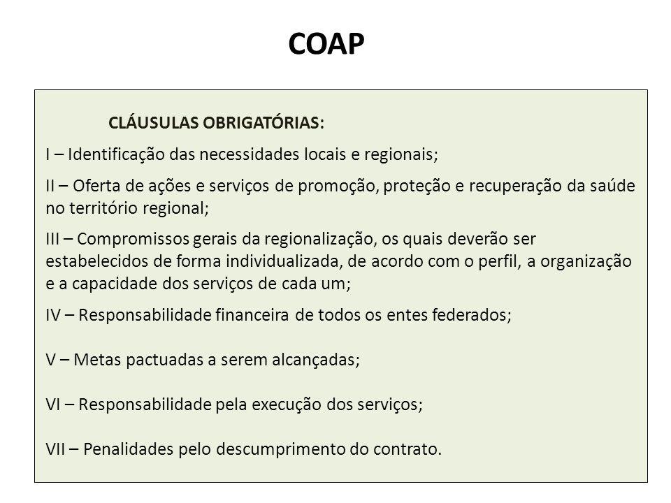 COAP I – Identificação das necessidades locais e regionais;