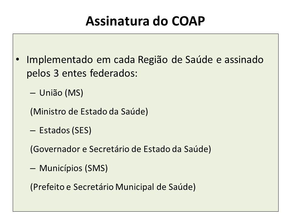 Assinatura do COAP Implementado em cada Região de Saúde e assinado pelos 3 entes federados: União (MS)