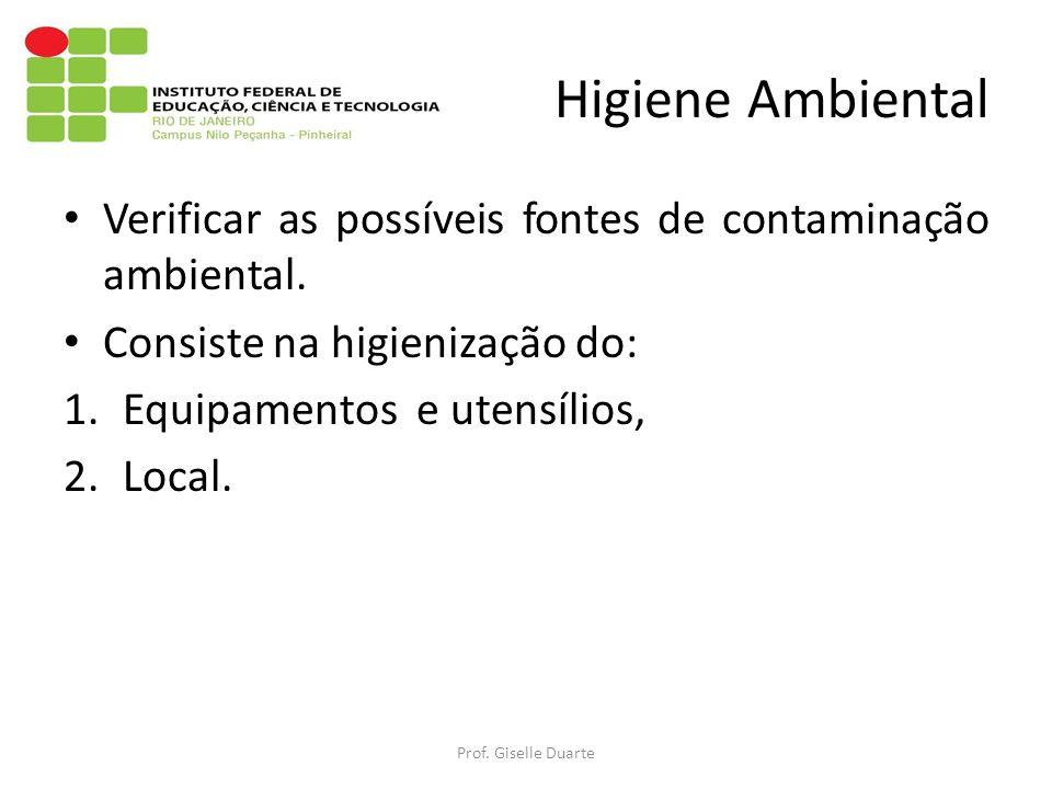 Higiene Ambiental Verificar as possíveis fontes de contaminação ambiental. Consiste na higienização do: