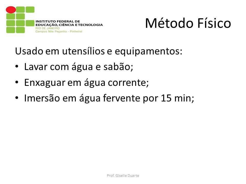 Método Físico Usado em utensílios e equipamentos: