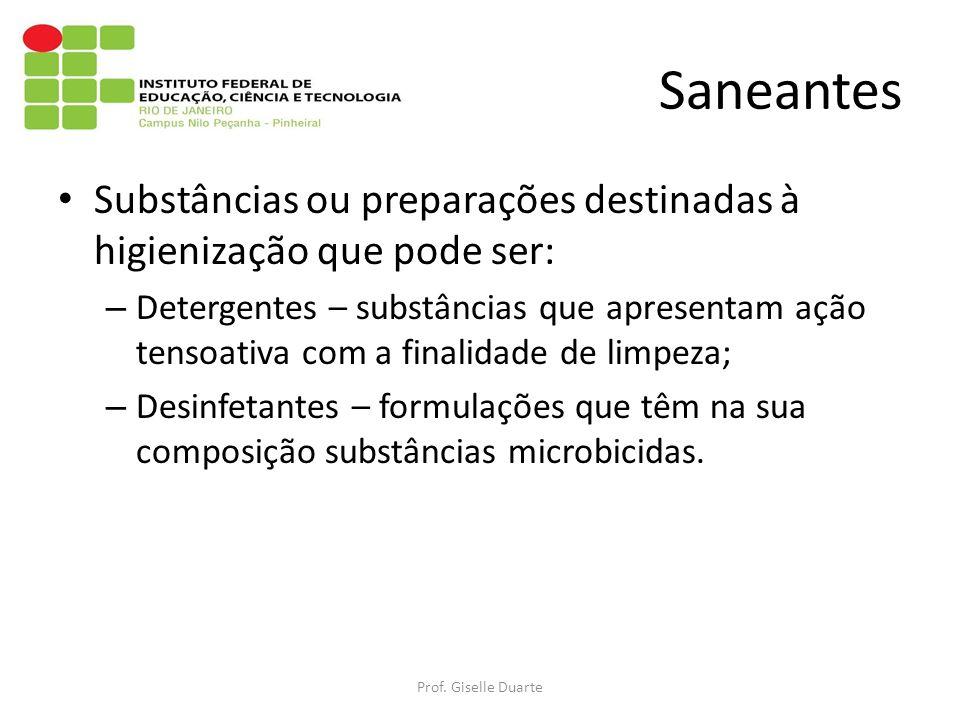 Saneantes Substâncias ou preparações destinadas à higienização que pode ser: