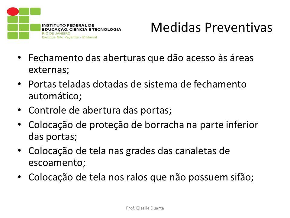 Medidas Preventivas Fechamento das aberturas que dão acesso às áreas externas; Portas teladas dotadas de sistema de fechamento automático;