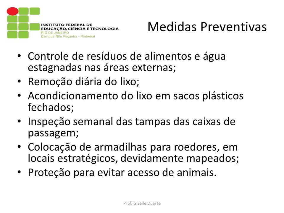 Medidas Preventivas Controle de resíduos de alimentos e água estagnadas nas áreas externas; Remoção diária do lixo;