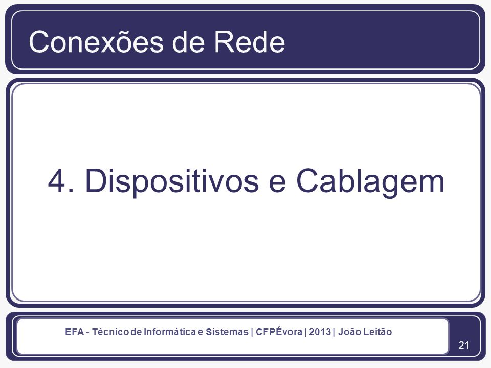 4. Dispositivos e Cablagem