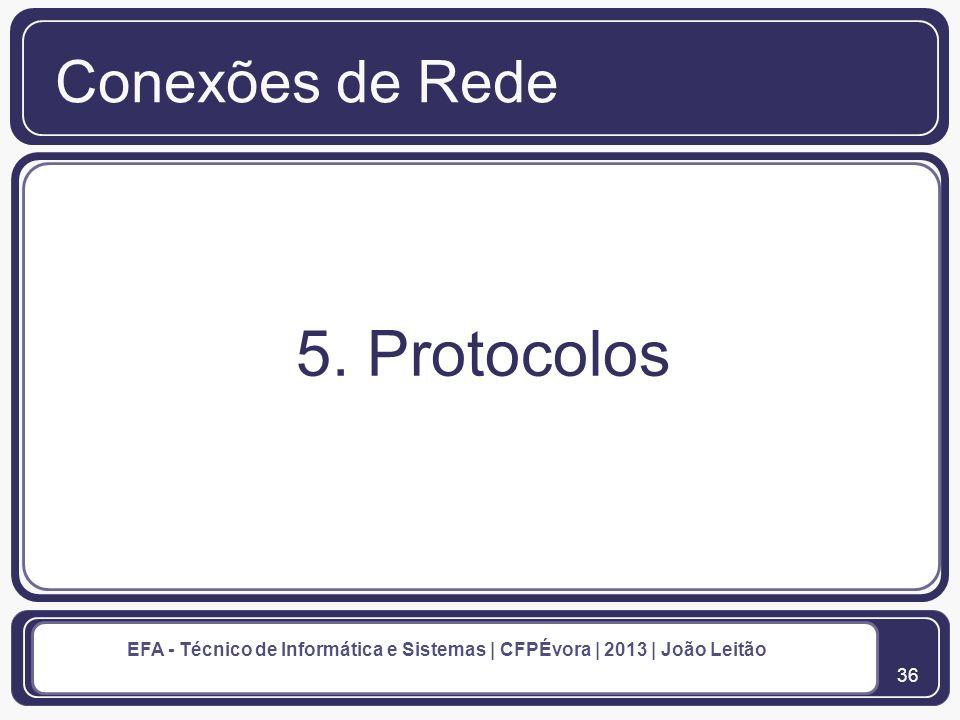 Conexões de Rede 5. Protocolos