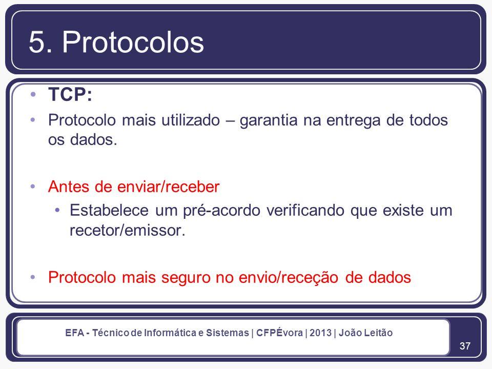 5. Protocolos TCP: Protocolo mais utilizado – garantia na entrega de todos os dados. Antes de enviar/receber.