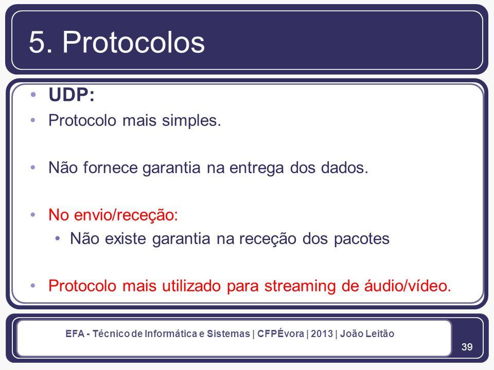5. Protocolos UDP: Protocolo mais simples.