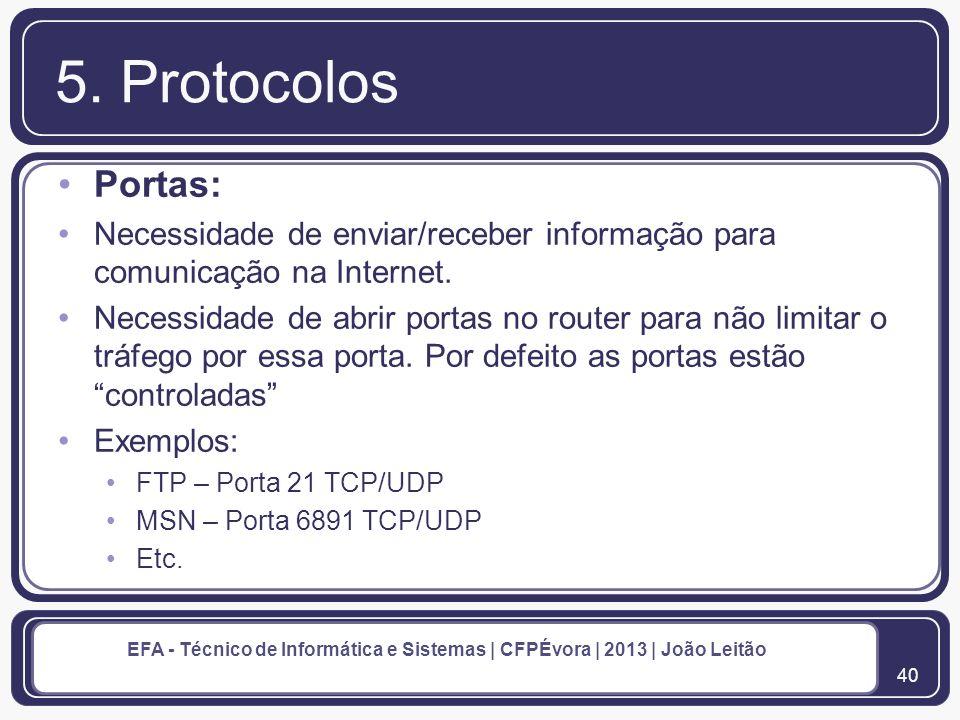 5. Protocolos Portas: Necessidade de enviar/receber informação para comunicação na Internet.