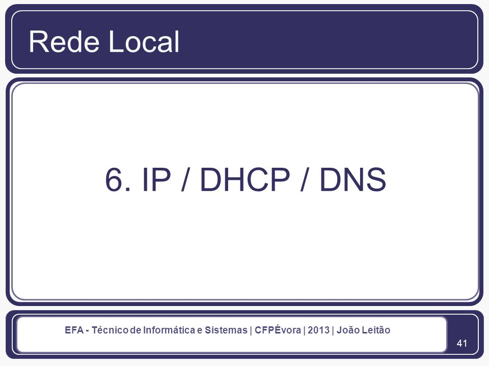 Rede Local 6. IP / DHCP / DNS