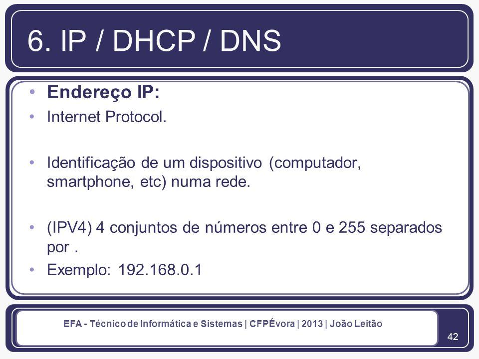 6. IP / DHCP / DNS Endereço IP: Internet Protocol.