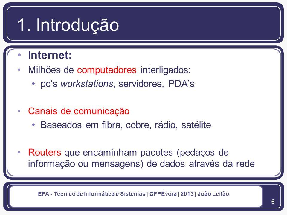 1. Introdução Internet: Milhões de computadores interligados: