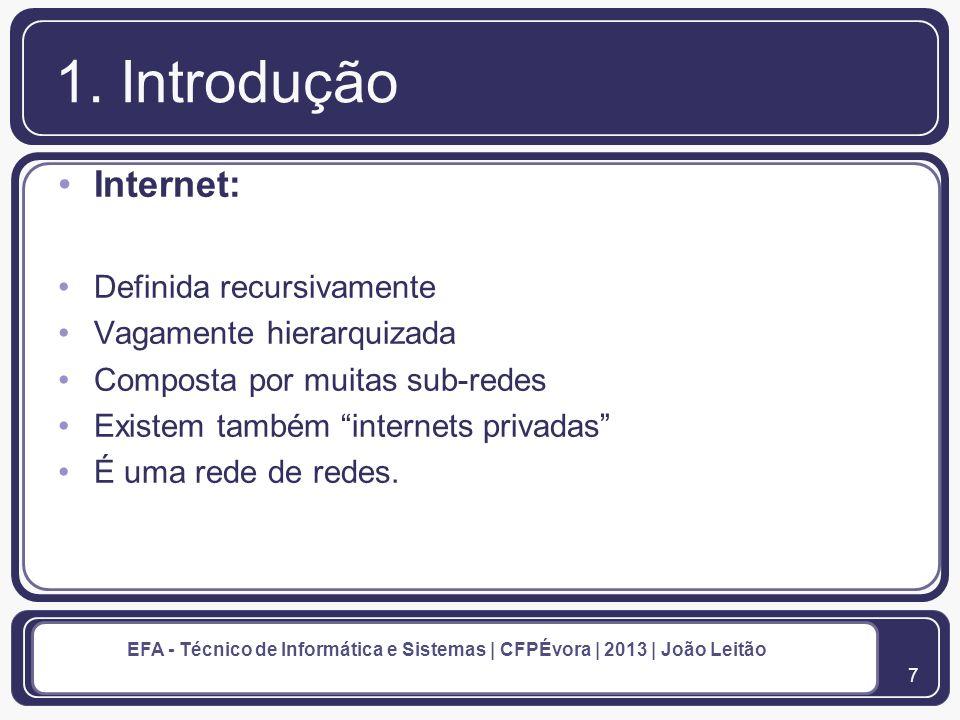 1. Introdução Internet: Definida recursivamente