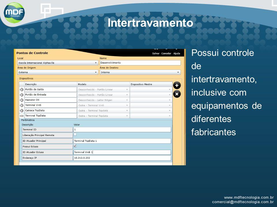 Intertravamento Possui controle de intertravamento, inclusive com equipamentos de diferentes fabricantes.