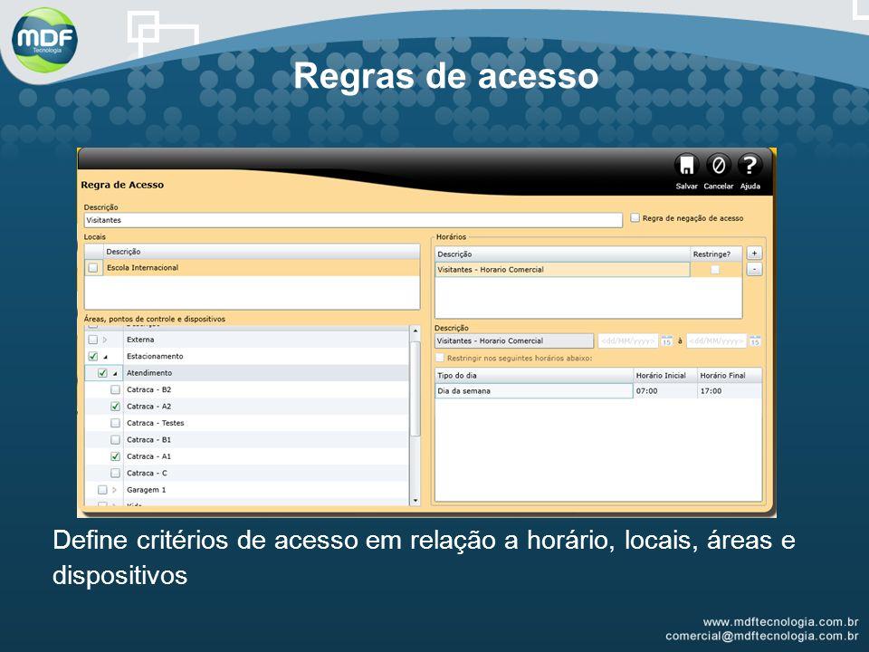 Regras de acesso Define critérios de acesso em relação a horário, locais, áreas e dispositivos