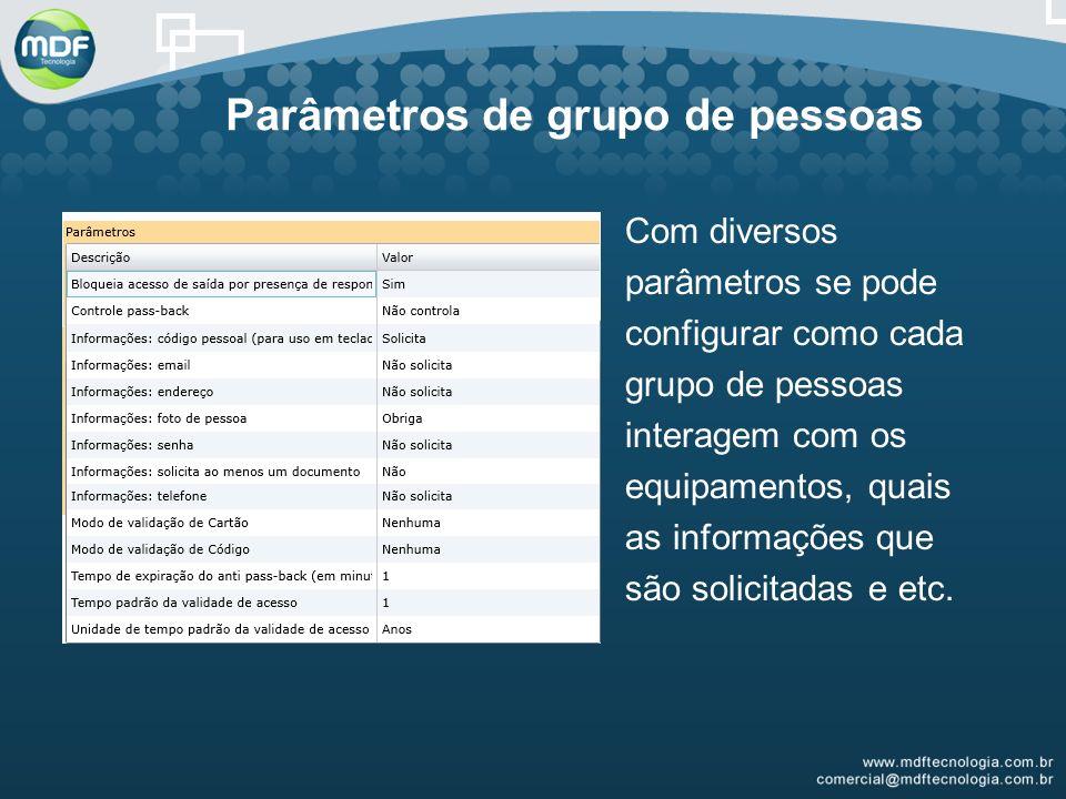 Parâmetros de grupo de pessoas