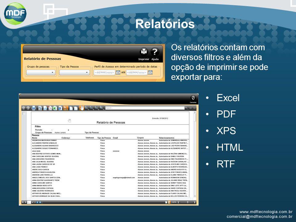 Relatórios Excel PDF XPS HTML RTF
