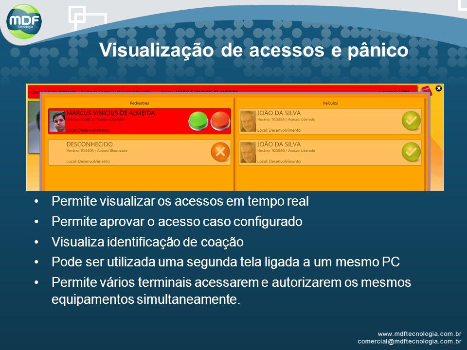 Visualização de acessos e pânico