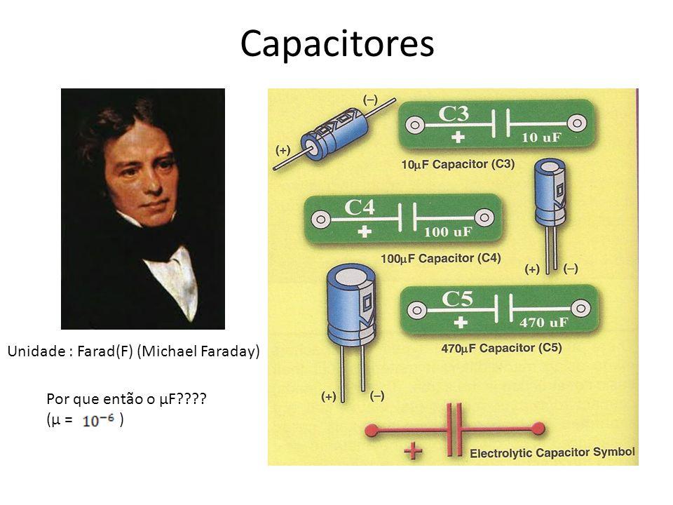 Capacitores Unidade : Farad(F) (Michael Faraday)