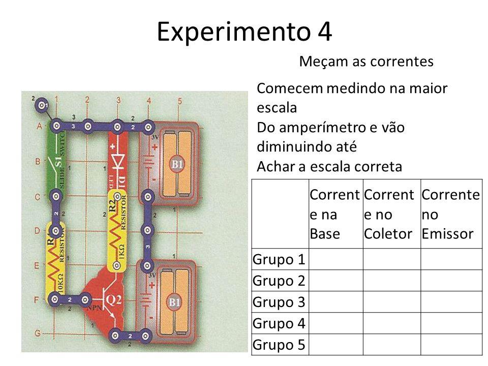 Experimento 4 Meçam as correntes Comecem medindo na maior escala