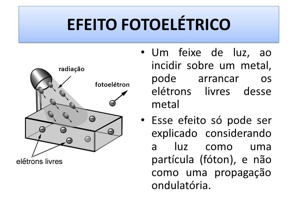 EFEITO FOTOELÉTRICO Um feixe de luz, ao incidir sobre um metal, pode arrancar os elétrons livres desse metal.