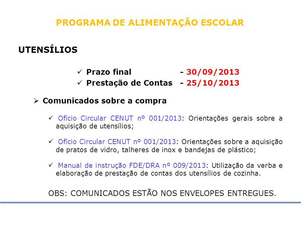 PROGRAMA DE ALIMENTAÇÃO ESCOLAR Prestação de Contas - 25/10/2013