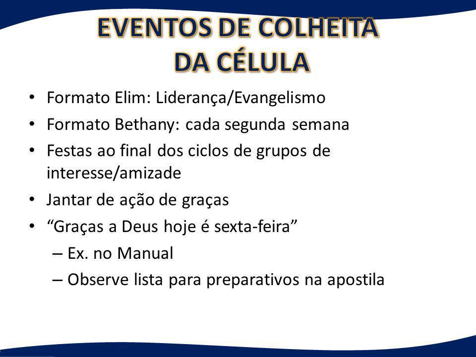 EVENTOS DE COLHEITA DA CÉLULA