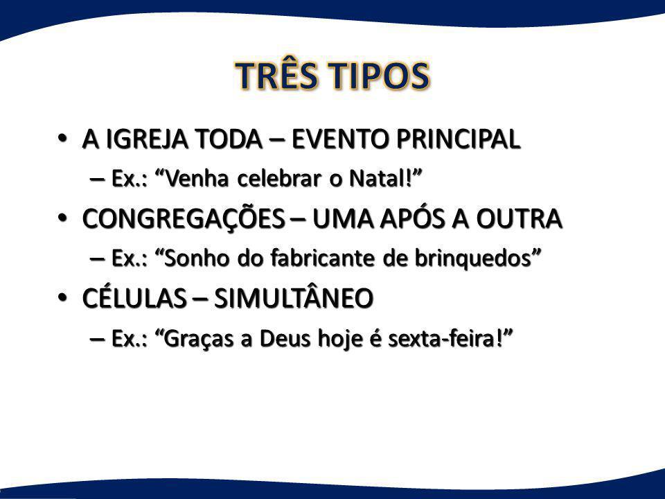 TRÊS TIPOS A IGREJA TODA – EVENTO PRINCIPAL