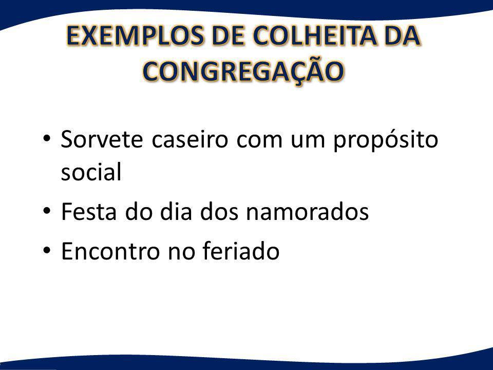 EXEMPLOS DE COLHEITA DA CONGREGAÇÃO