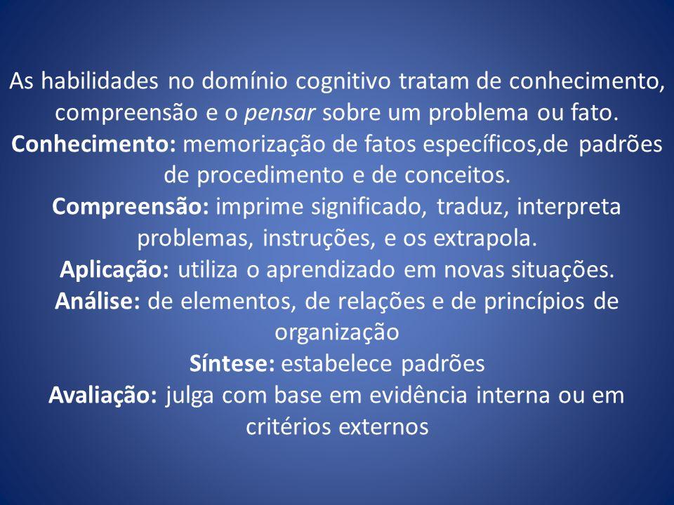 As habilidades no domínio cognitivo tratam de conhecimento, compreensão e o pensar sobre um problema ou fato.