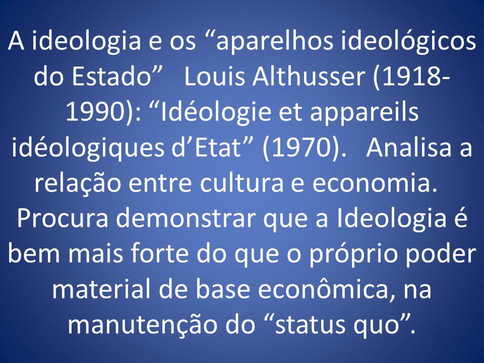 A ideologia e os aparelhos ideológicos do Estado Louis Althusser (1918-1990): Idéologie et appareils idéologiques d'Etat (1970).
