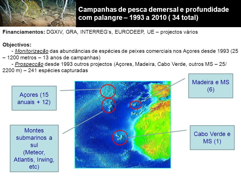 Campanhas de pesca demersal e profundidade com palangre – 1993 a 2010 ( 34 total)